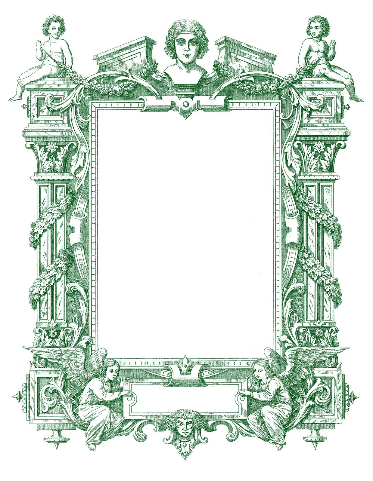 Spectacular Antique French Graphic Frame with Angels - The Graphics ...