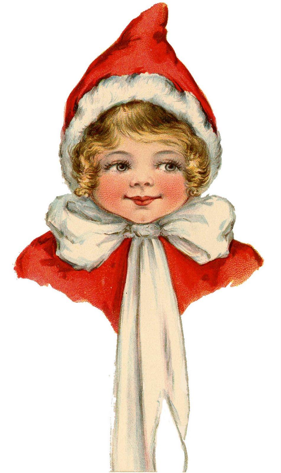 Vintage Christmas Clip Art - Adorable Elf Girl - The Graphics Fairy
