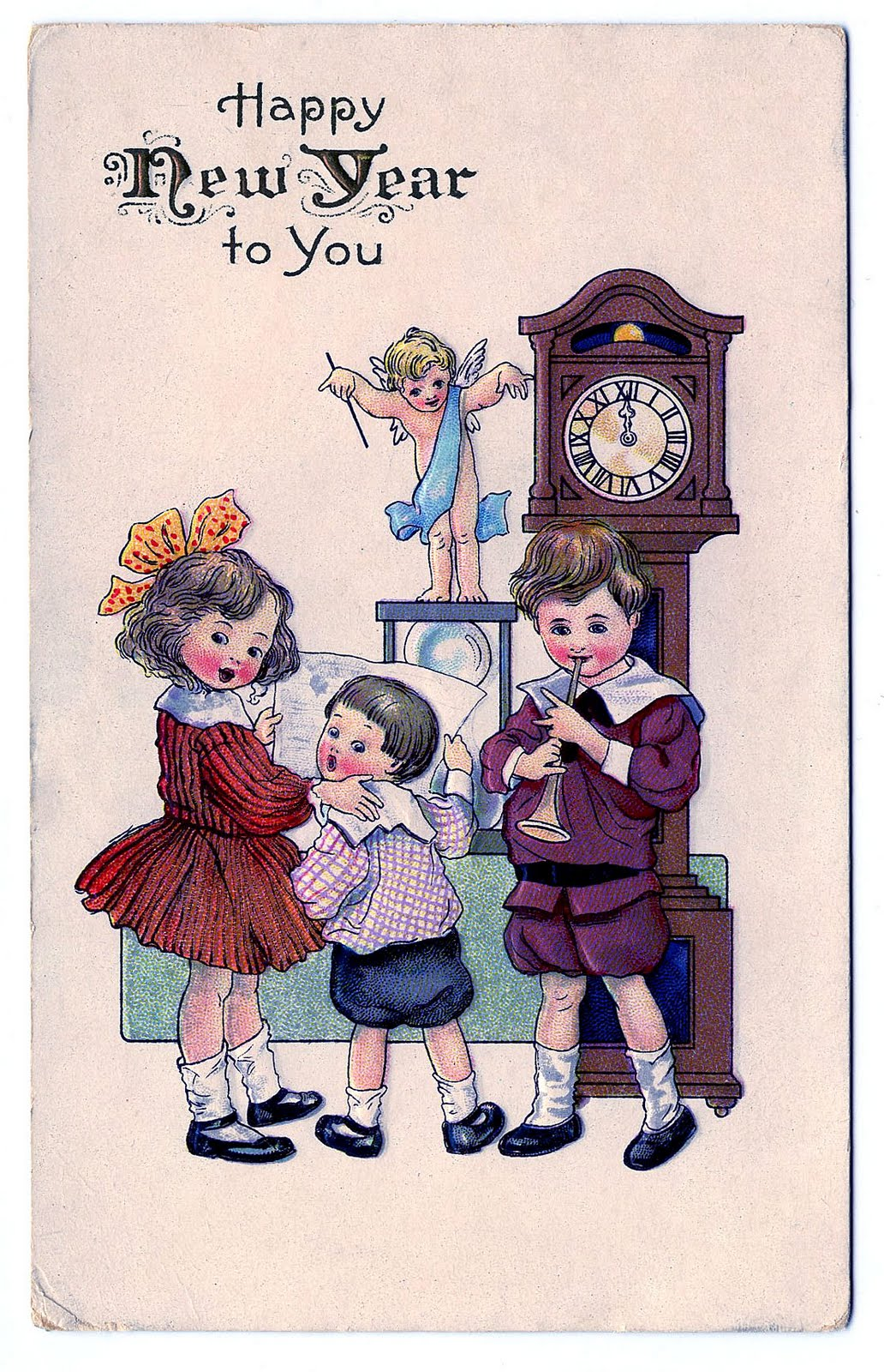 Vintage New Year Clip Art - Children with Cupid - The ...