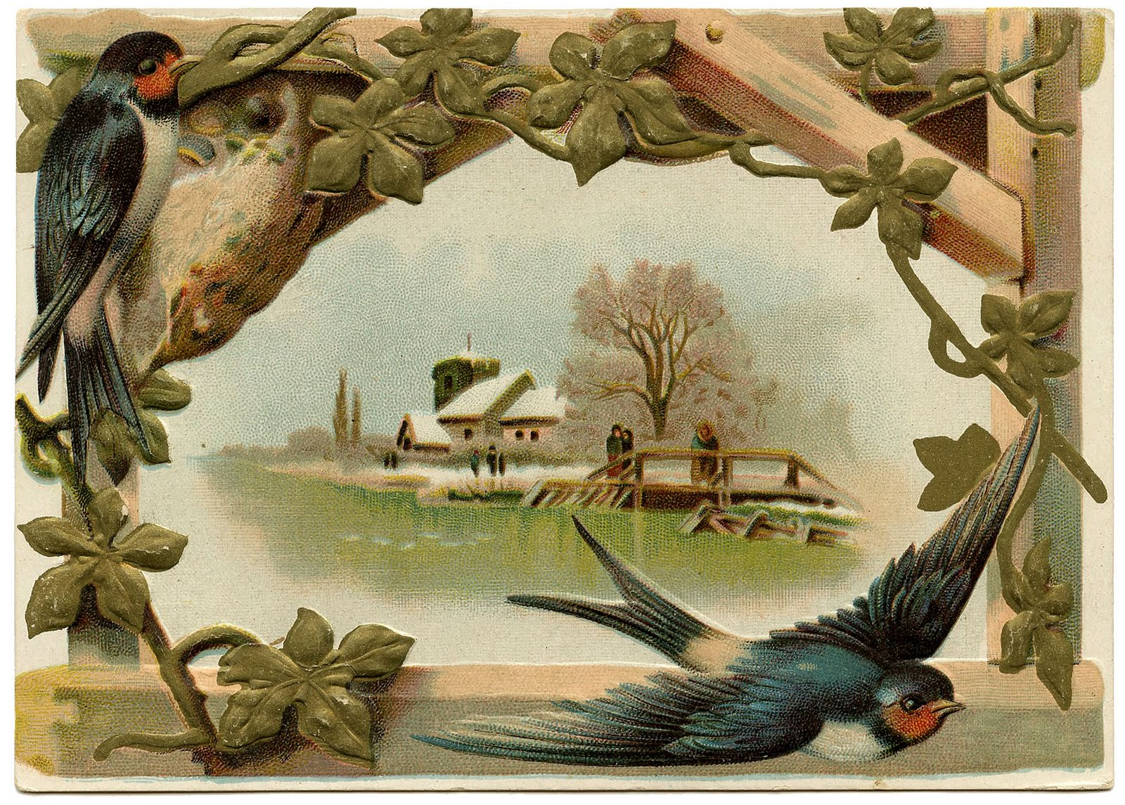 Vintage Clip Art - Lovely Swallows - The Graphics Fairy