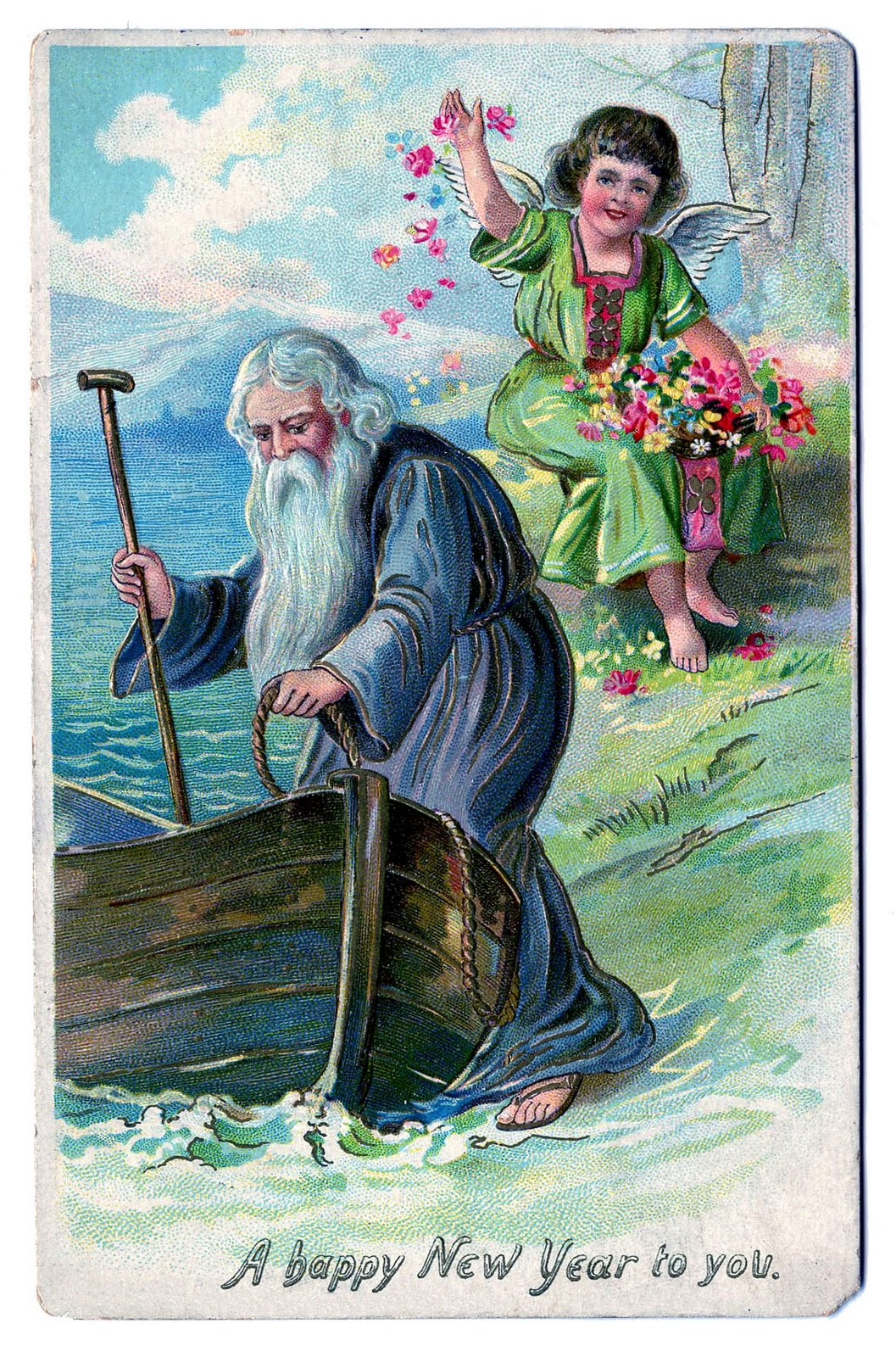 click on image to enlarge heres a classic antique new year postcard showing father time and