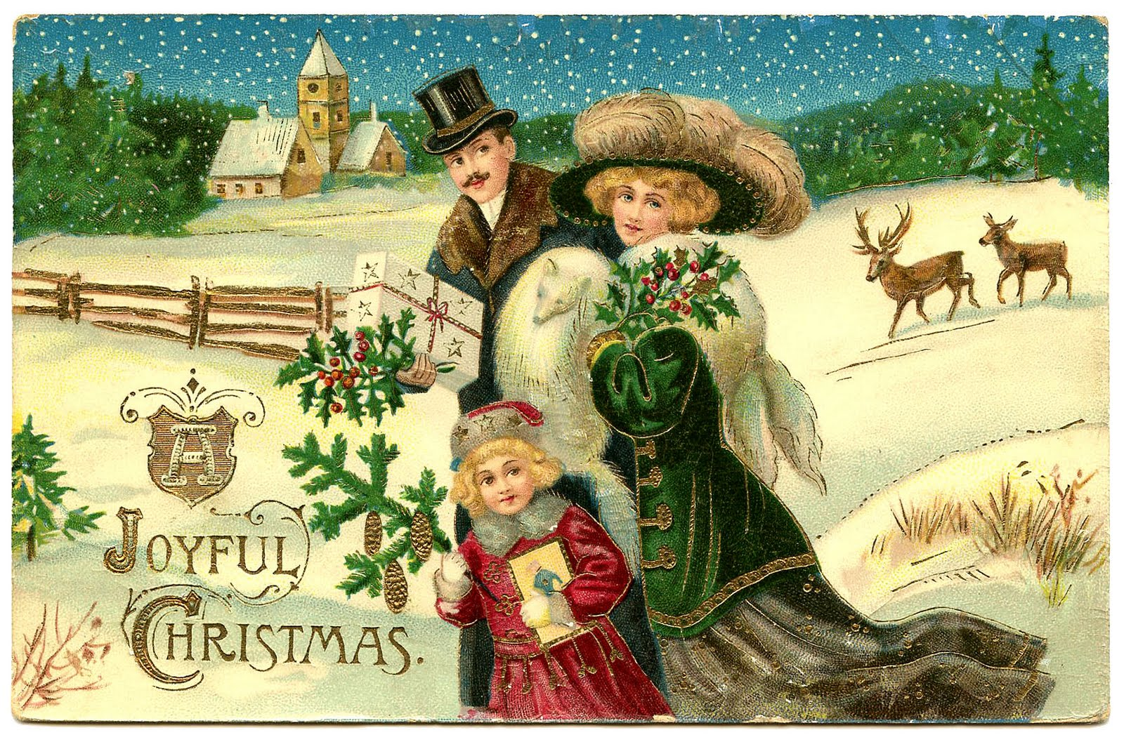 Victorian Christmas Clip Art - Beautiful Family - The Graphics Fairy