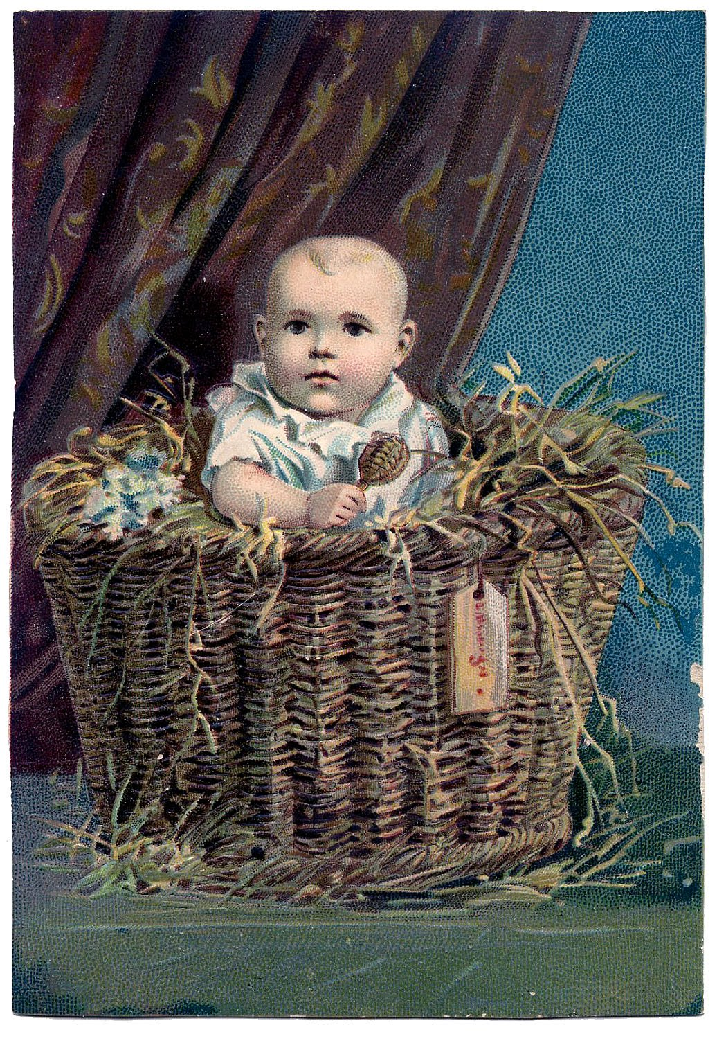 Art Basket Facebook : Vintage clip art sweetest baby in basket the graphics