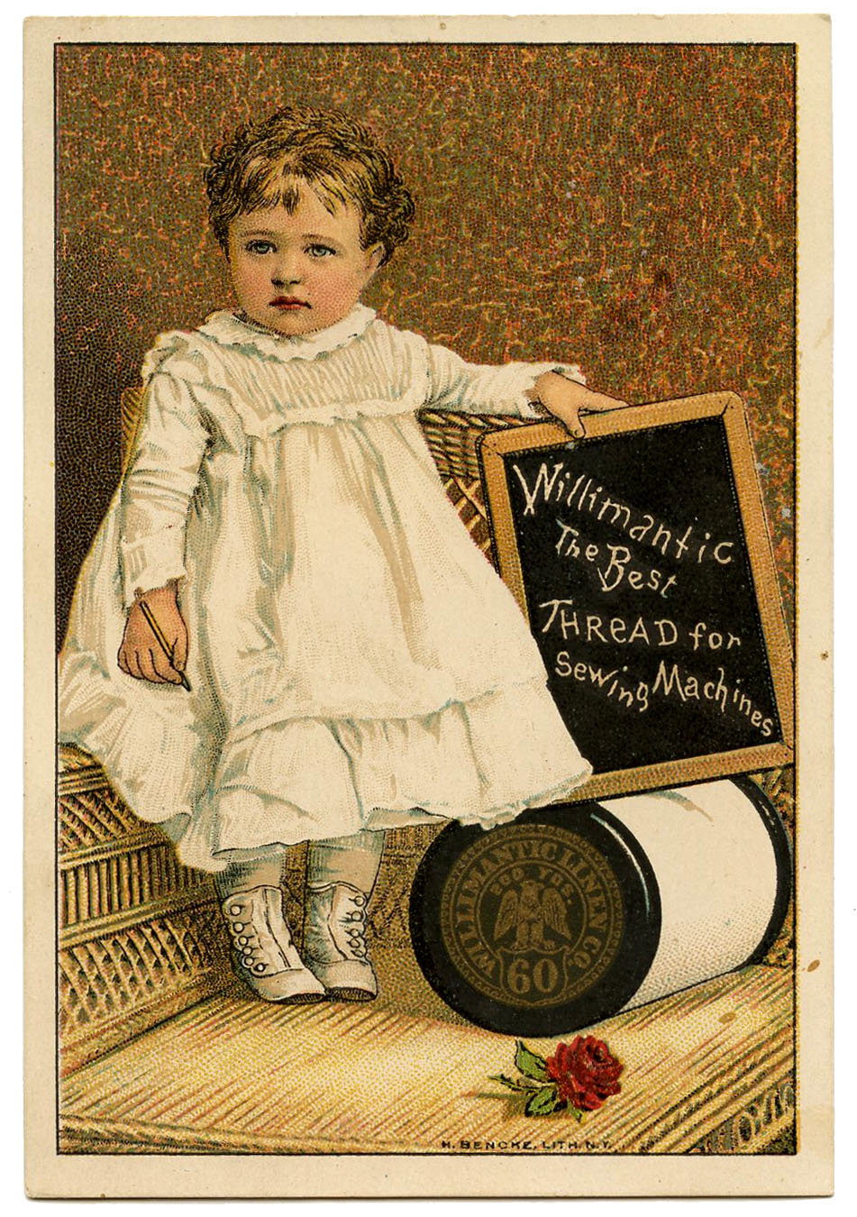 Vintage Graphic Image Darling Toddler With Thread Spool