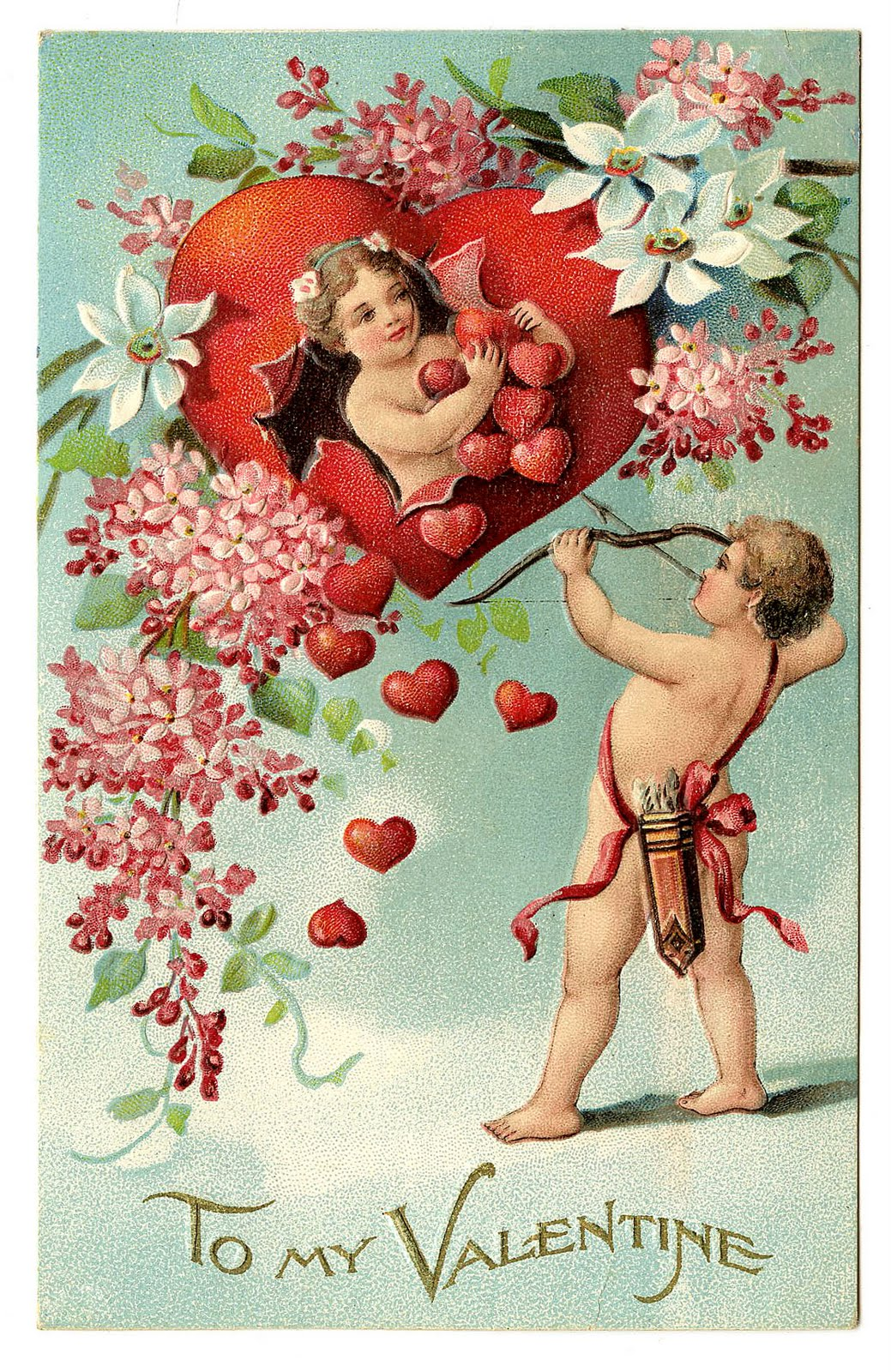 vintage clip art valentine with cherubs and hearts the