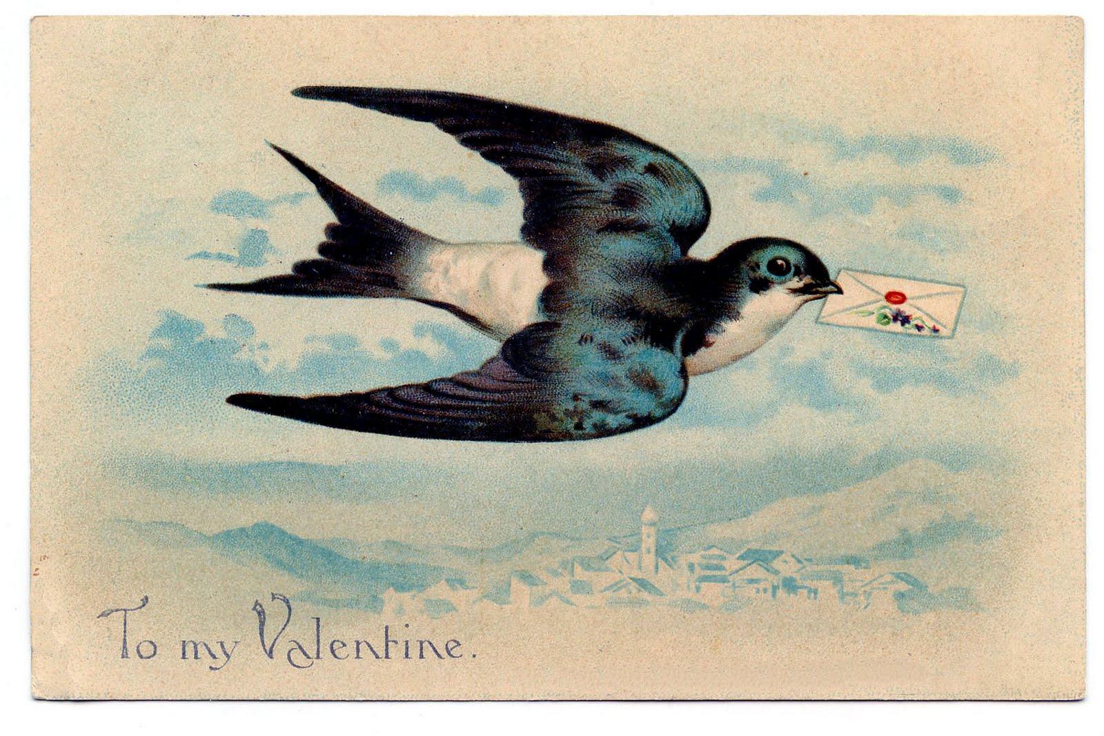 Vintage Valentine Clip Art U2013 Gorgeous Swallow