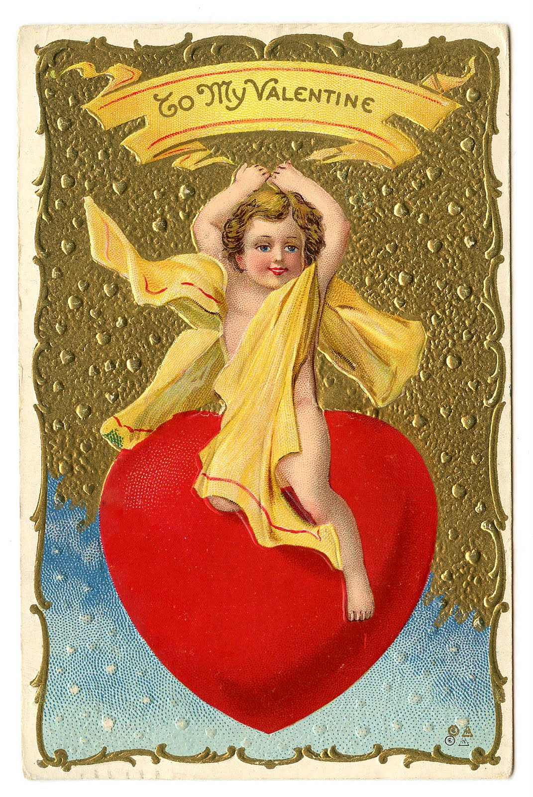 Vintage Valentine Clip Art - Cherub Riding Giant Heart ...