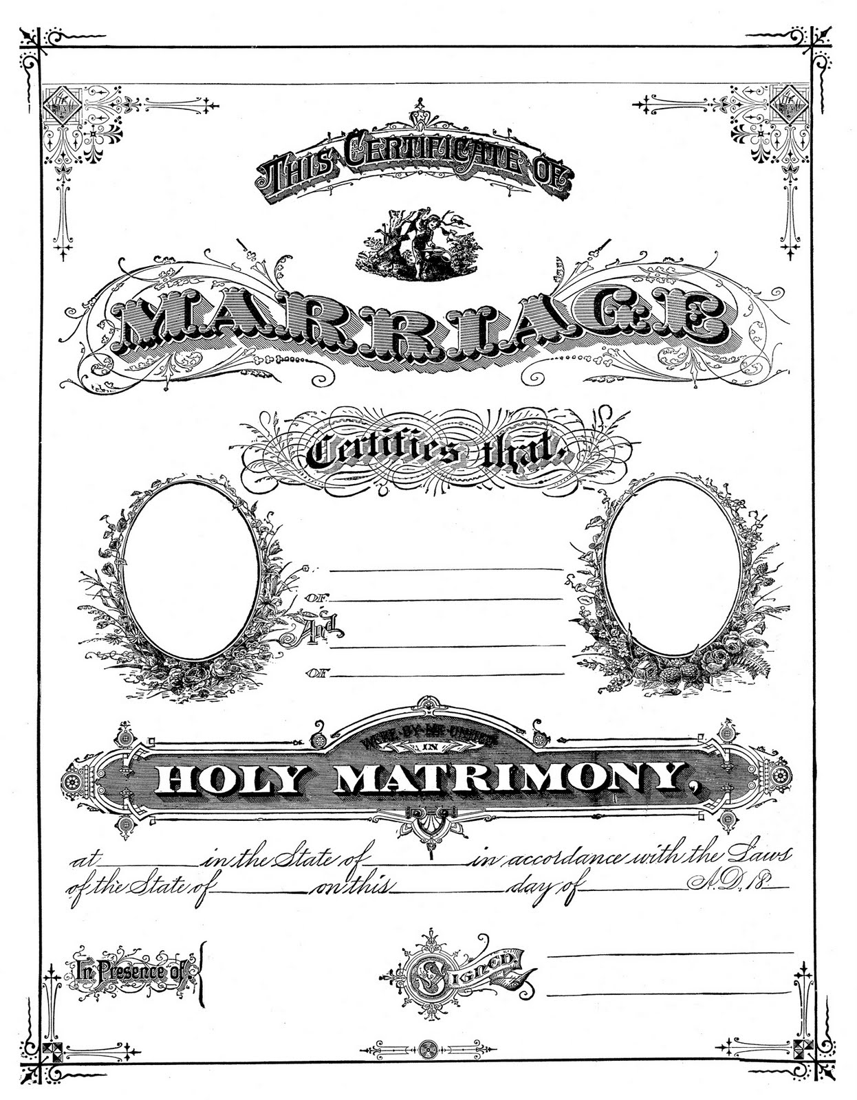 image relating to Printable Marriage Certificates identify Antique Ephemera Clip Artwork - Printable Relationship Certification
