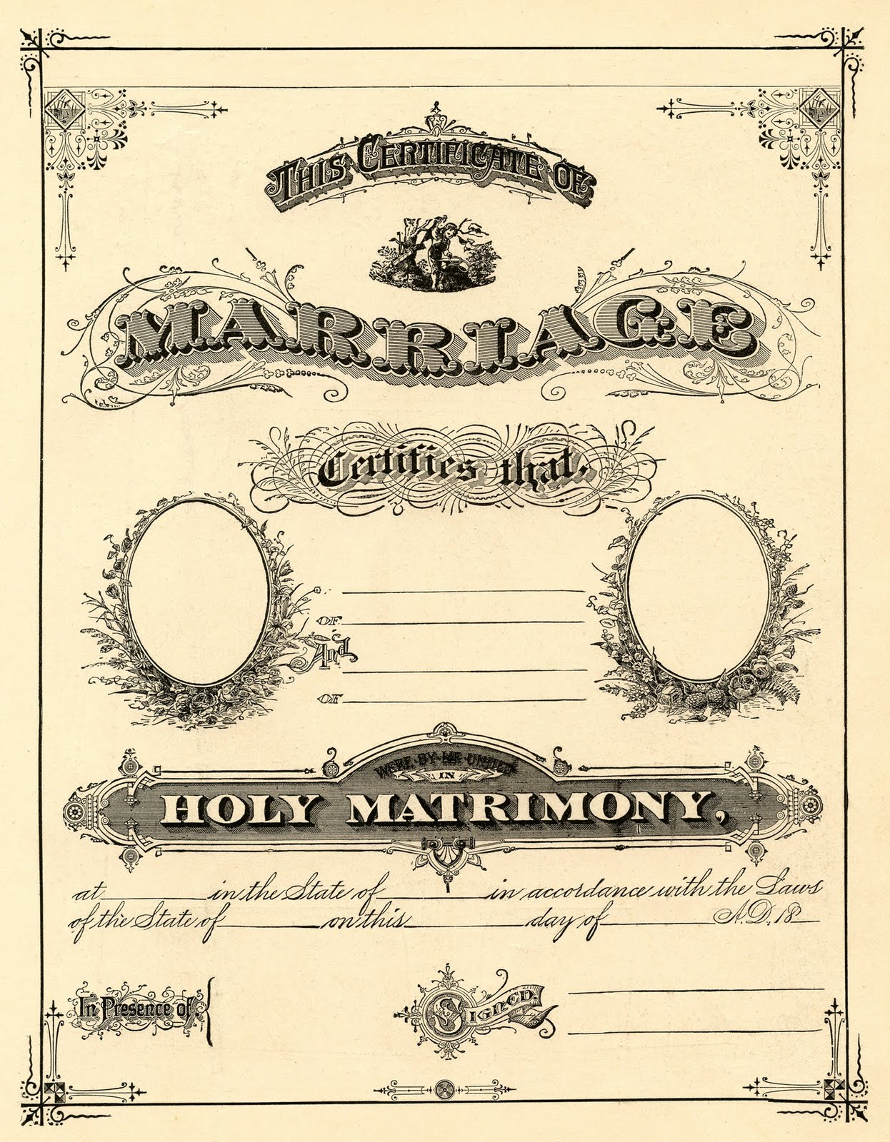 photo relating to Free Printable Marriage Certificate referred to as Antique Ephemera Clip Artwork - Printable Connection Certification