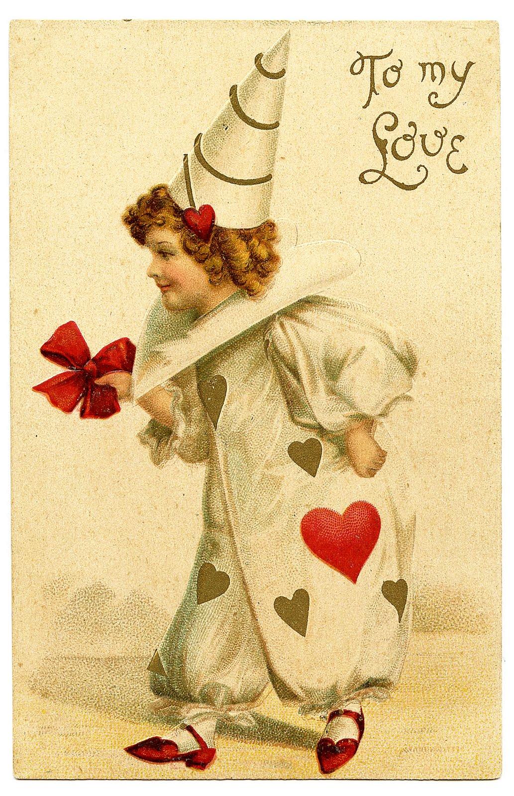 Vintage Valentine's Day Clip Art - Darling Clown Girl ...