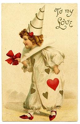 Vintage Valentines Day Clip Art Darling Clown Girl