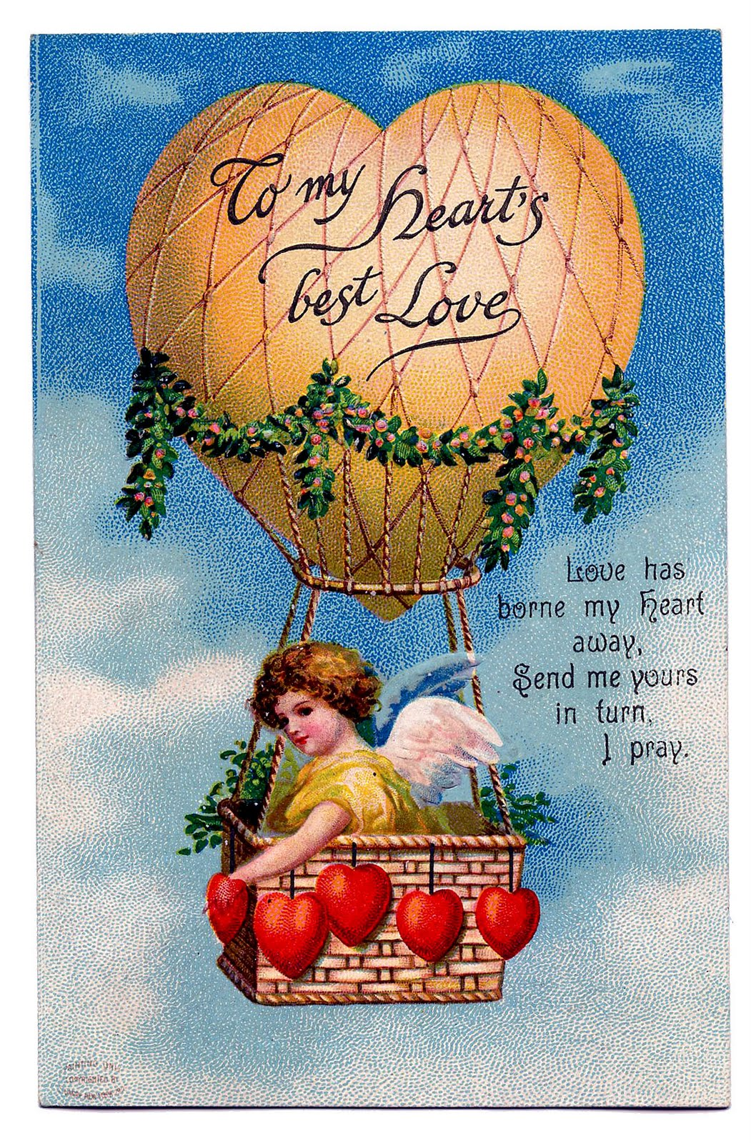 Vintage Valentines Day Clip Art  Cupid in Heart Shaped Balloon