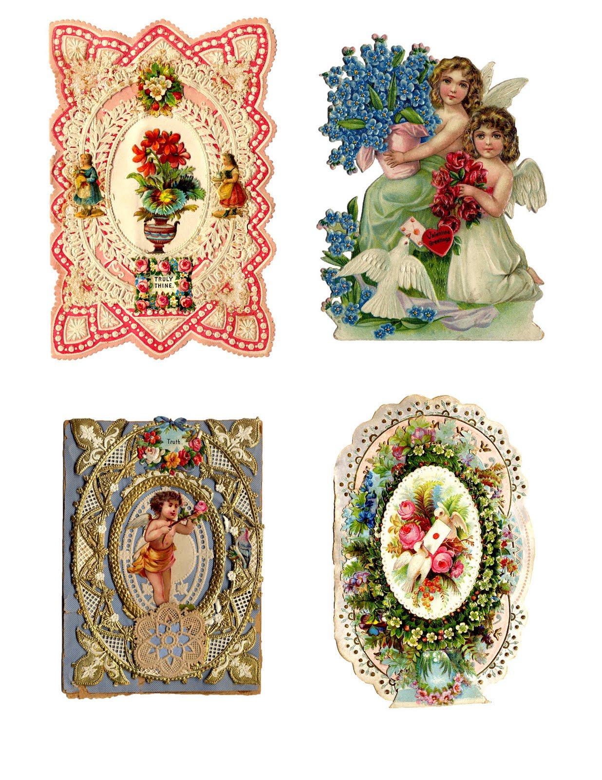 antique valentines - printable collage sheet