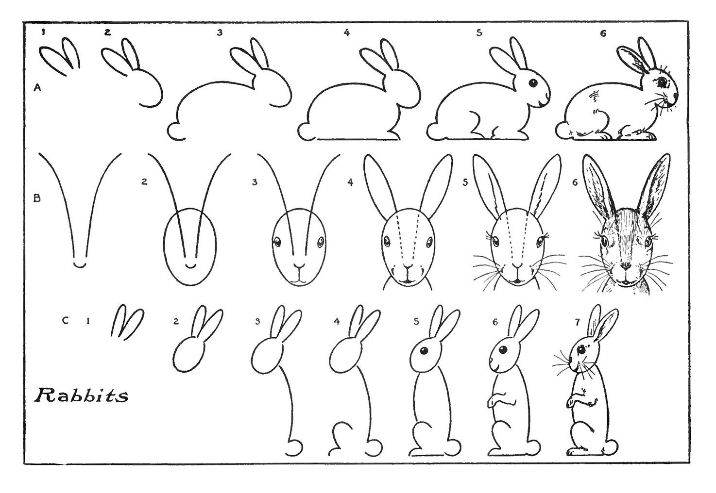 Vintage Kids Printable - Draw some Bunnies - The Graphics ...