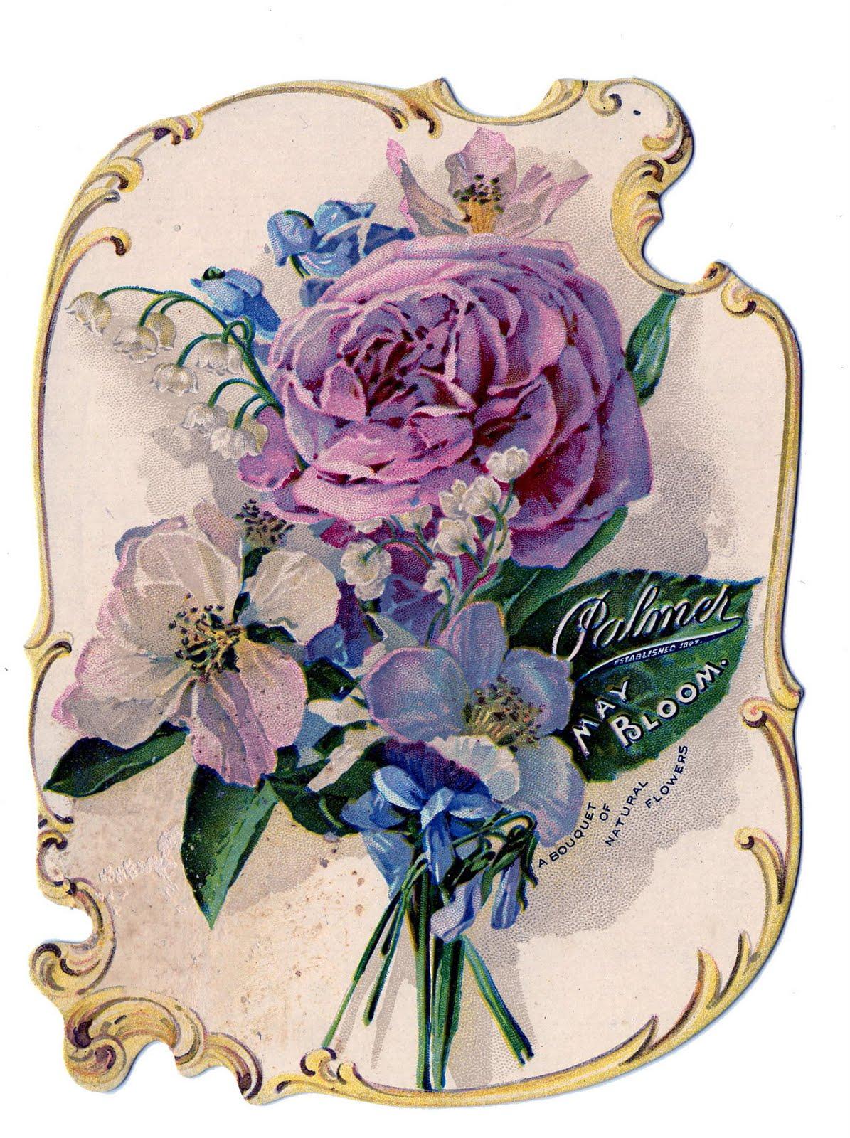 Victorian Clip Art - Stunning Rose Bouquet Perfume Ad ...